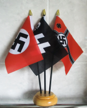 WWII NAZI TABLE FLAG SET (SS / WWII / WWII REGULAR) wooden base plastic sticks